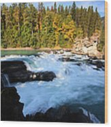 Backguard Falls On Fraser River In British Columbia Wood Print by Mark Duffy