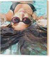 Backstroke II  Wood Print by Leah Silberman