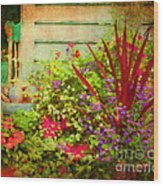 Backyard Flower Garden Wood Print