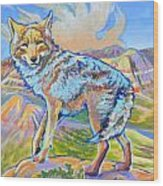 Badland Coyote Wood Print by Jenn Cunningham