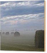 Bails In Fog Wood Print