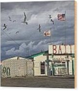 Bait Shop By Aransas Pass In Texas Wood Print