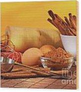 Baking Ingredients Wood Print by Sandra Cunningham