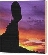 Balanced Rock Sunset Arches Nat.park Wood Print