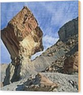 Balancing Rock Caused By Water Erosion Wood Print by G. Brad Lewis