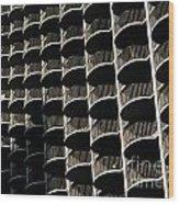 Balconies Bw Wood Print