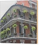 Balcony In New Orleans Wood Print