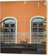Balcony With Palms Wood Print