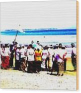 Balinese Beach In Mourning Wood Print