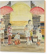 Balinese Children In Traditional Clothing Wood Print