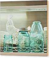 Ball Jars And White Rooster Wood Print