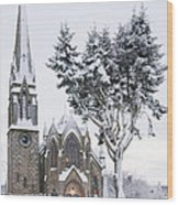 Ballater Church In Snow Wood Print