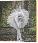 Ballerina In The Park Wood Print