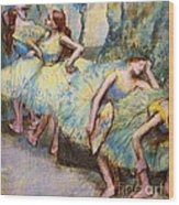 Ballet Dancers In The Wings Wood Print