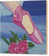 Ballet Toe Shoes For Madison Wood Print by Margaret Harmon