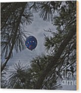 Balloon In The Pines Wood Print