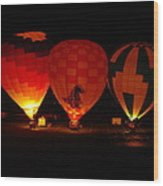 Balloons At Night Wood Print