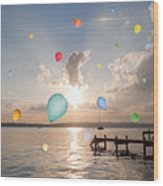 Balloons Floating Over Still Lake Wood Print
