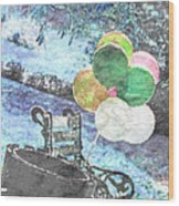 Balloons In The Park Wood Print