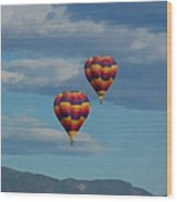 Balloons Over The Rockies Painterly Wood Print