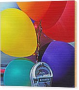 Balloons Tied To Parking Meter Wood Print