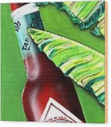 Banana Leaf Series - Tabasco Bottle Wood Print by Terry J Marks Sr