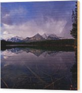 Banff - Herbert Lake Wood Print