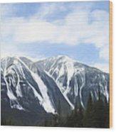 Banff Ski Runs Wood Print by Wayne Bonney