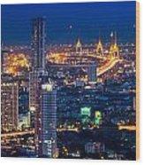 Bangkok Capital City Of Thailand Nightscape Wood Print by Arthit Somsakul