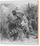 Banknote: Native American Attack Wood Print