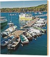 Bar Harbor Boat Dock Wood Print
