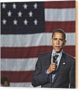 Barack Obama At A Public Appearance Wood Print by Everett