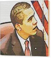 Barack Obama Wood Print by Susan Leggett
