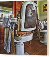 Barber - Barber Chair Wood Print by Paul Ward