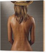 Bare Back Of A Suntanned Woman In A Straw Hat Wood Print