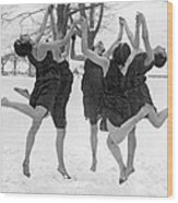 Barefoot Dance In The Snow Wood Print