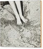 Barefoot In The Sand Wood Print