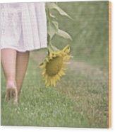 Barefoot Summertime Wood Print by Marta Nardini