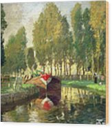 Barge On A River Normandy Wood Print
