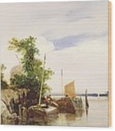 Barges On A River Wood Print