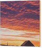 Barley Fields, Barn, Church Wood Print