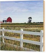 Barn And Fence Wood Print