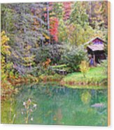 Barn And Pond In The Fall Wood Print