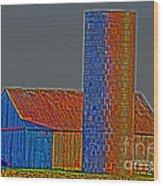 Barn And Silo Wood Print