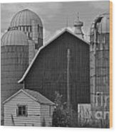 Barn And Silos In Black And White Wood Print