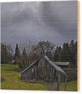 Barn And Sky Wood Print