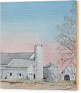 Barn And Sycamore Wood Print