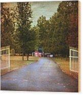 Barn Behind The Gate Wood Print