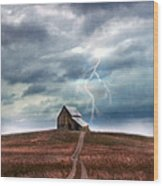 Barn In Lightning Storm Wood Print