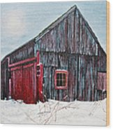Barn In Snow Southbury Ct Wood Print